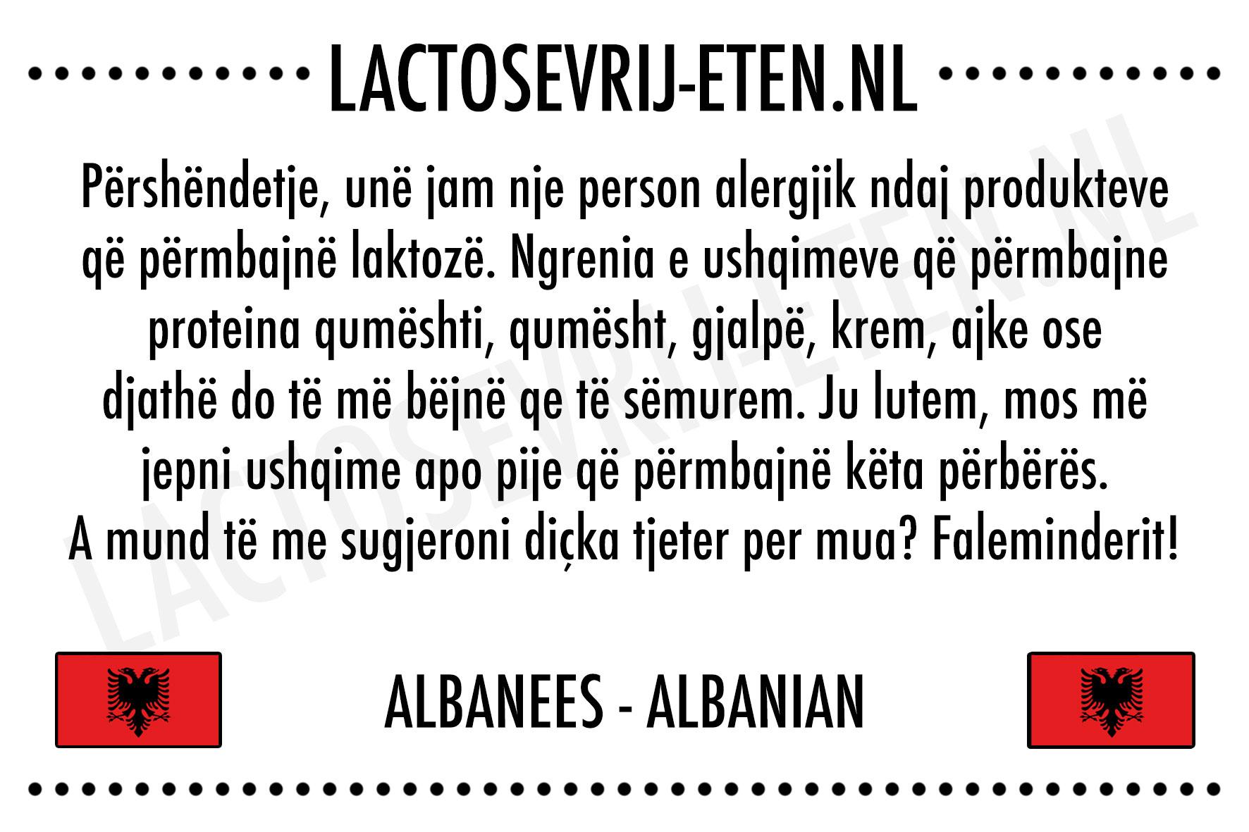 Lactosevrije allergenenkaart Albanees