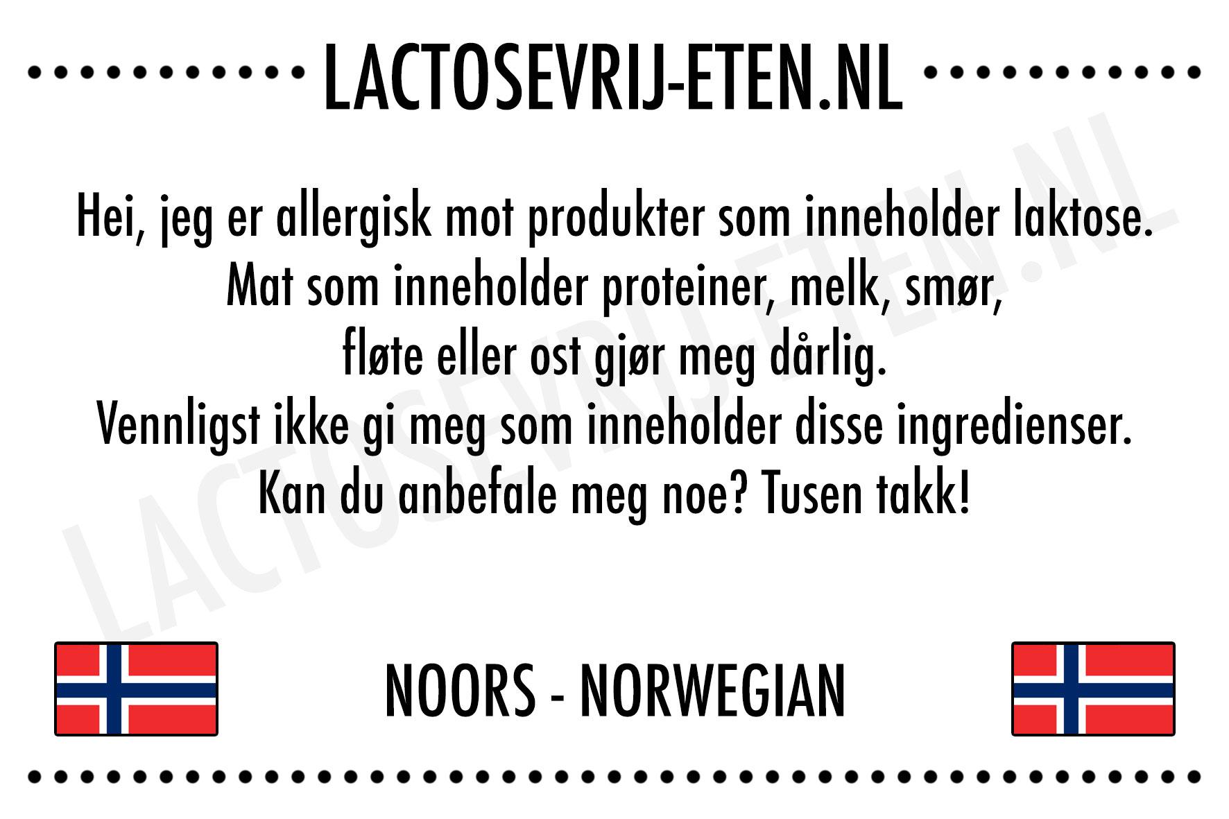 Lactosevrije allergenenkaart Noors