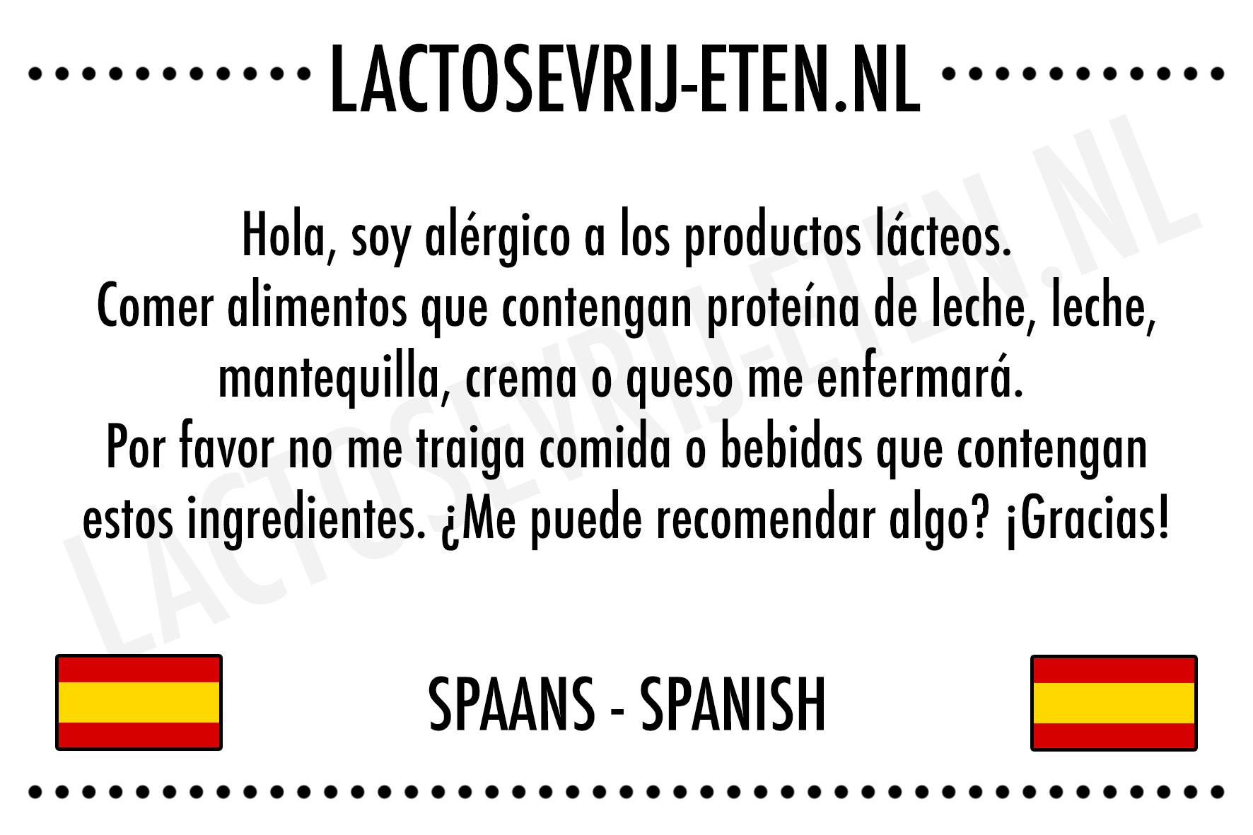 Lactose in het Spaans