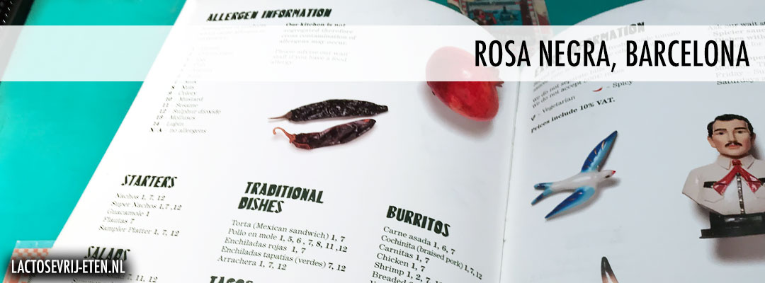Lactosevrij avondeten in Barcelona Rosa Negra Menukaart