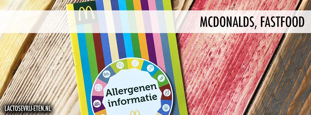 Lactosevrij eten bij McDonalds Allergenenkaart