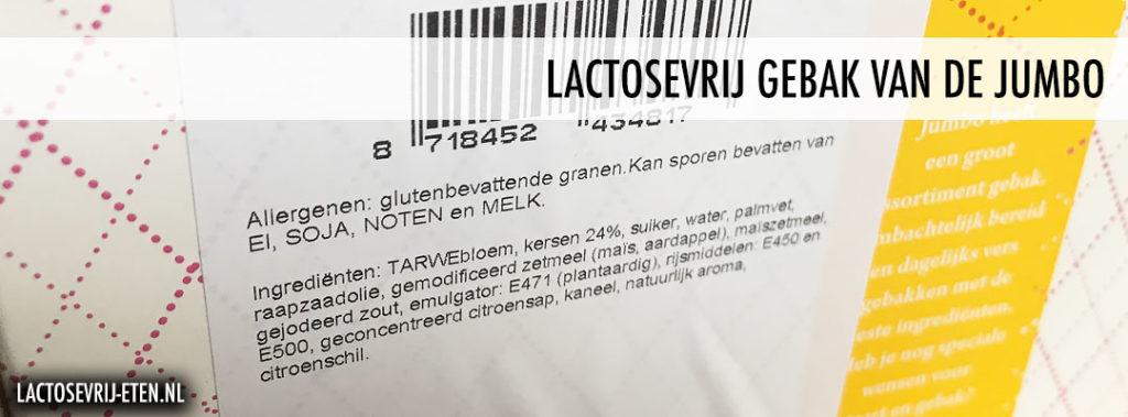 Ingrediënten lactosevrij gebak en taart bij de Jumbo